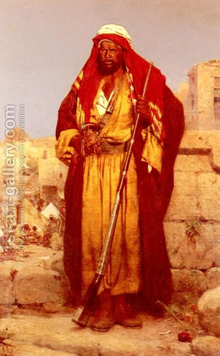 A Nubian Guard by Adolf Seel - Reproduction Oil Painting