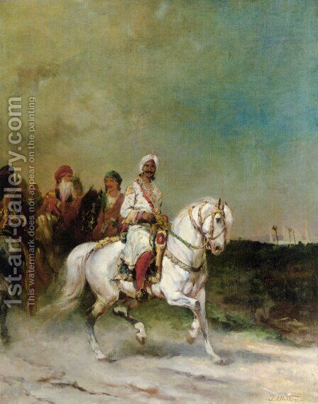 A Maharaja on a White Horse by James Alexander Walker - Reproduction Oil Painting