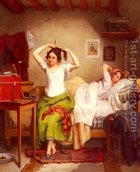 In The Bedroom by Jean Augustin Franquelin - Reproduction Oil Painting