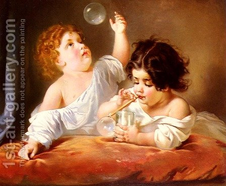 Blowing Bubbles by Henri Guillaume Schlesinger - Reproduction Oil Painting