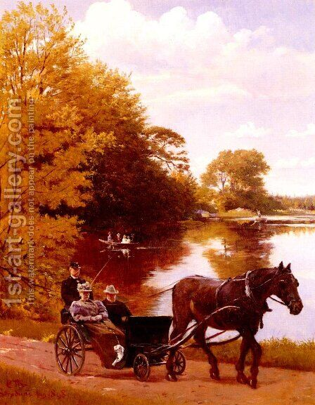 An Afternoon At The Lake by Carl Christian Frederik Jacob Thomsen - Reproduction Oil Painting