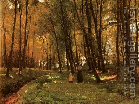 A Walk In The Woods by Edvard Frederik Petersen - Reproduction Oil Painting