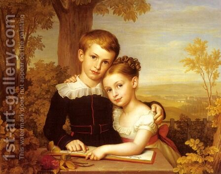 Portrait of two Children with an extensive Landscape beyond by Carl Jacob Leybold - Reproduction Oil Painting