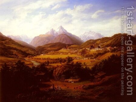Berchtesgaden with the Watzmann Mountain in the distance by Anton Schiffer - Reproduction Oil Painting