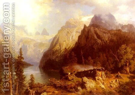 A Shepherdess and Sheep resting by a Lake in an Alpine Landscape by August Wilhelm Leu - Reproduction Oil Painting