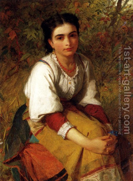 Pensierosa by Charles Sillem Lidderdale - Reproduction Oil Painting
