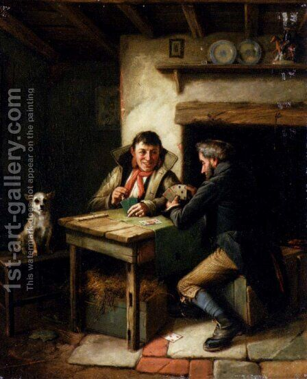 The Card Players by Charles Hunt - Reproduction Oil Painting