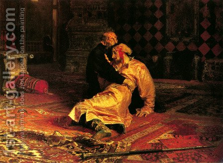 Ivan the Terrible and His Son Ivan on November 16, 1581 by Ilya Efimovich Efimovich Repin - Reproduction Oil Painting