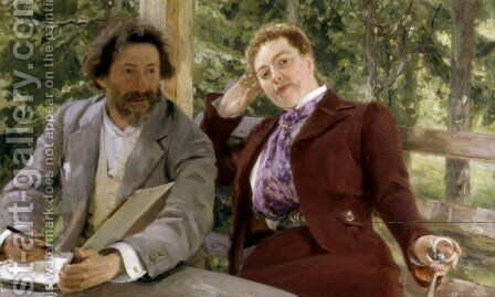 Double Portrait of Natalia Nordmann and Ilya Repin by Ilya Efimovich Efimovich Repin - Reproduction Oil Painting