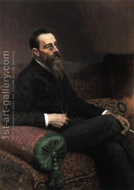Portrait of the Composer Nikolay Rymsky-Korsakov by Ilya Efimovich Efimovich Repin - Reproduction Oil Painting