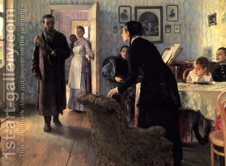 Unexpected Visitors (or They did not Expect Him) by Ilya Efimovich Efimovich Repin - Reproduction Oil Painting