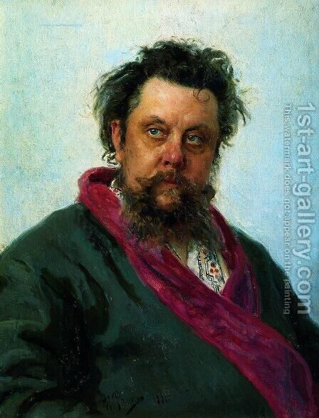 Portrait of the Composer Modest Musorgsky by Ilya Efimovich Efimovich Repin - Reproduction Oil Painting