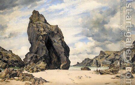 Steeple Rock, Kynance Cove, Lizard, Cornwall, Low Water by Edward William Cooke - Reproduction Oil Painting