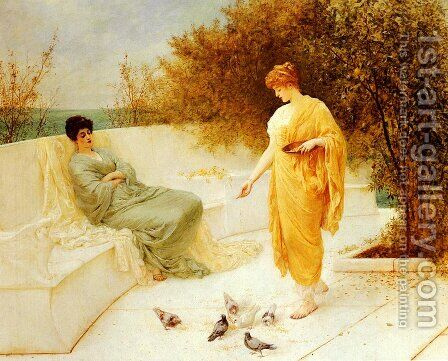 Feeding Doves by Henry Thomas Schafer - Reproduction Oil Painting