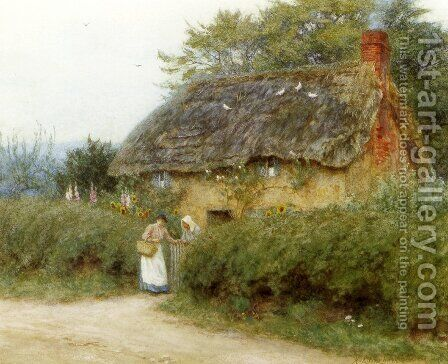 A Cottage With Sunflowers At Peaslake by Helen Mary Elizabeth Allingham, R.W.S. - Reproduction Oil Painting