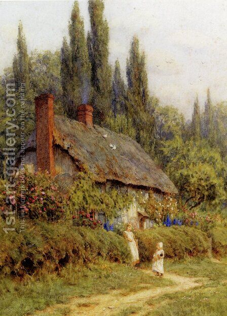 Children On A Path Outside A Thatched Cottage, West Horsley, Surrey by Helen Mary Elizabeth Allingham, R.W.S. - Reproduction Oil Painting
