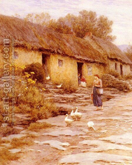 Irish Cottage by Helen Mary Elizabeth Allingham, R.W.S. - Reproduction Oil Painting