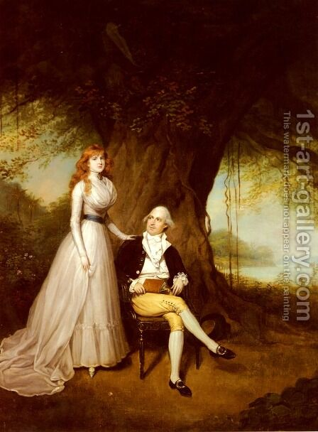 Portrait Of Robert Grant And His Wife, Elizabeth by Arthur William Devis - Reproduction Oil Painting