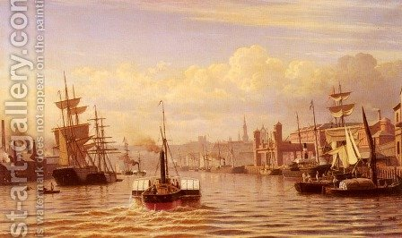 Shipping On The River Tyne, Newcastle by Christian Eckardt - Reproduction Oil Painting