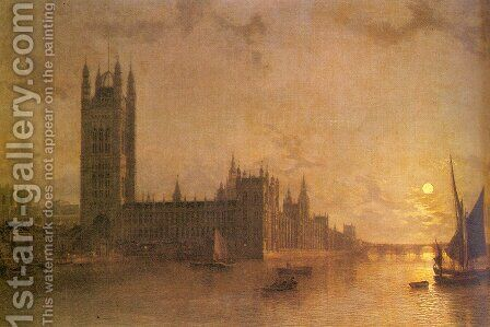 Westminister Abbey, The Houses of Parliament with the Construction of Wesminister Bridge by Henry Pether - Reproduction Oil Painting