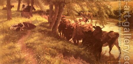 A Shady Spot On A Summer's Day by Henry William Banks Davis, R.A. - Reproduction Oil Painting