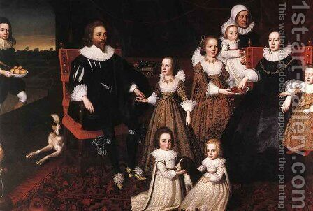 Sir Thomas Lucy and his Family by Cornelius Janssens (Johnson) Ceulen - Reproduction Oil Painting