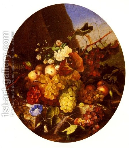 Still Life Of Fruit And Flowers by Adelheid Dietrich - Reproduction Oil Painting