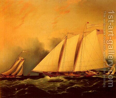 Under Full Sail by James E. Buttersworth - Reproduction Oil Painting