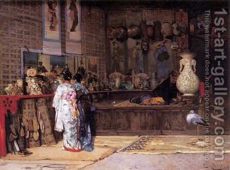 At the Japanese Market by Edouard Castres - Reproduction Oil Painting