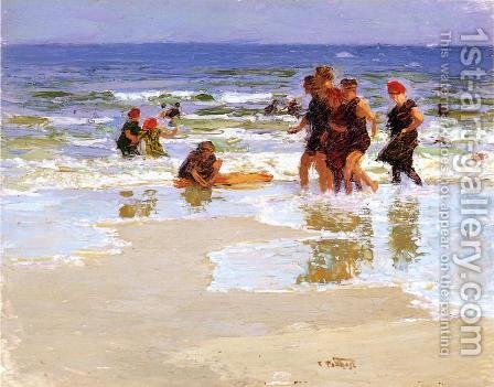 At the Seashore by Edward Henry Potthast - Reproduction Oil Painting