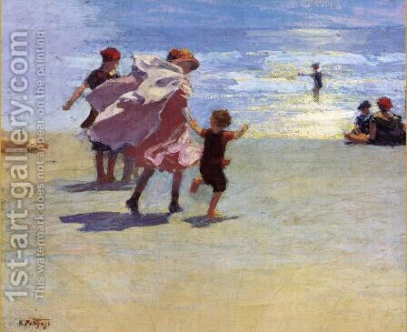 Brighton Beach by Edward Henry Potthast - Reproduction Oil Painting