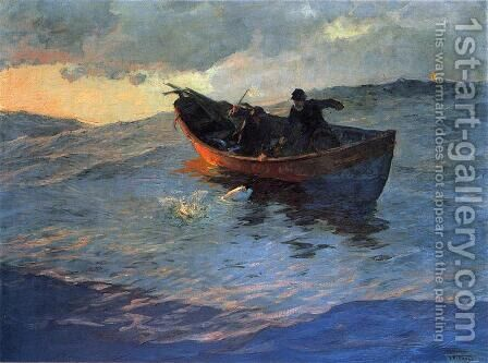 Struggle for the Catch by Edward Henry Potthast - Reproduction Oil Painting
