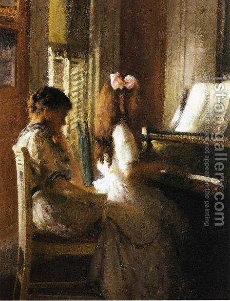 The Music Lesson by Joseph Rodefer DeCamp - Reproduction Oil Painting