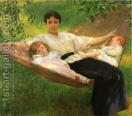 The Hammock by Joseph Rodefer DeCamp - Reproduction Oil Painting