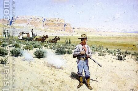 Defending the Stagecoach by Henry Farny - Reproduction Oil Painting