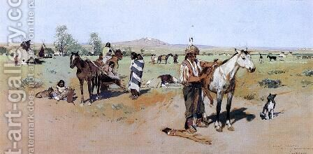 Indian Encampment by Henry Farny - Reproduction Oil Painting