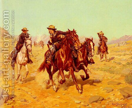 Saving Their Lieutenant by Charles Schreyvogel - Reproduction Oil Painting