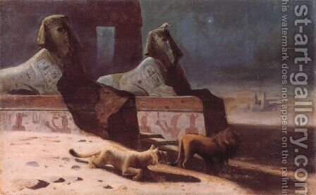 """Lions et Sphinx"" by Gustave Wertheimer - Reproduction Oil Painting"