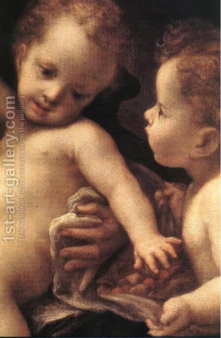 Virgin and Child with an Angel (detail) by Correggio (Antonio Allegri) - Reproduction Oil Painting