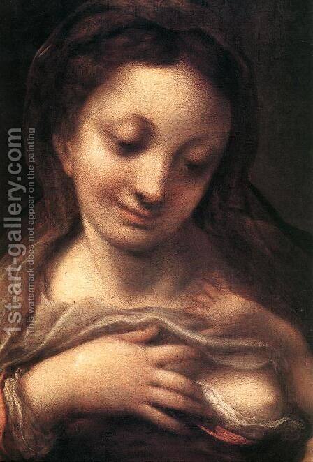 Virgin and Child with an Angel (Madonna del Latte) 2 by Correggio (Antonio Allegri) - Reproduction Oil Painting