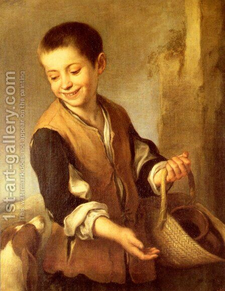 Urchin With A Dog And Basket by Bartolome Esteban Murillo - Reproduction Oil Painting