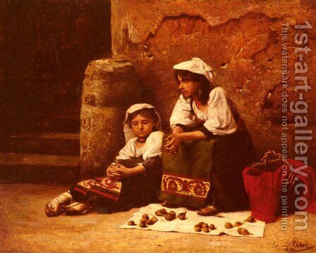 Vendeuses de figues et noix (Sellers of figs and nuts) by Edmond Lebel - Reproduction Oil Painting