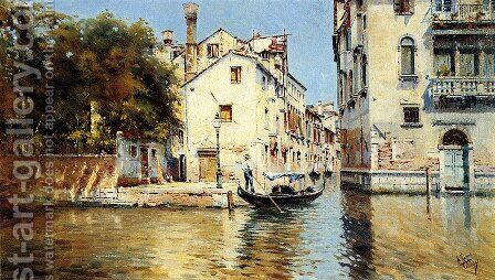 Venetian Canal Scene - Pic 1 by Antonio Maria de Reyna - Reproduction Oil Painting