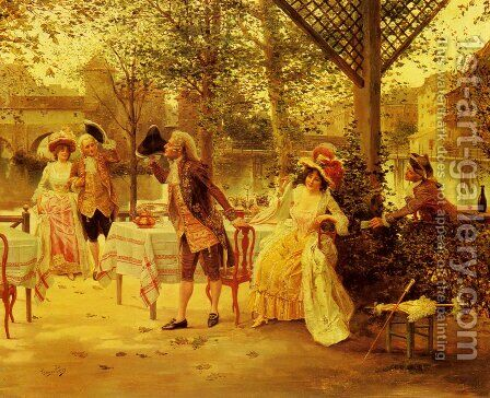 A Cafe By The River by Alonso Perez - Reproduction Oil Painting
