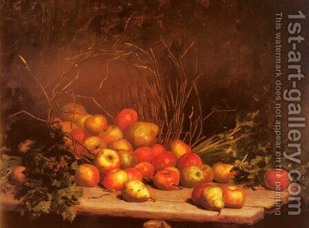 An Overturned Basket Of Fruit And Vegatables by Hubert Bellis - Reproduction Oil Painting