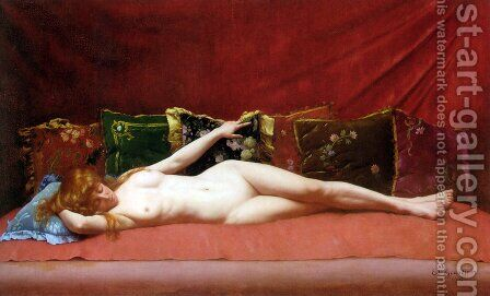 Femme nue allongee by Edmond Georges Grandjean - Reproduction Oil Painting
