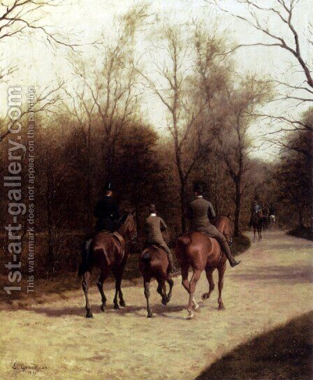 An Afternoon Ride by Edmond Georges Grandjean - Reproduction Oil Painting