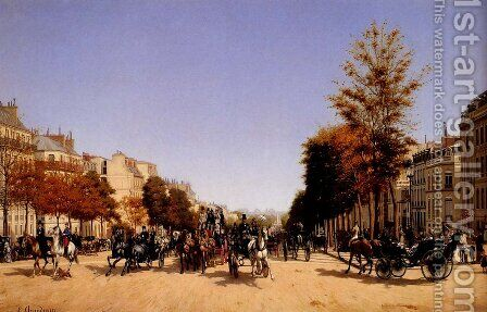 View Of The Champs-Elysees From The Place De L'Etoile by Edmond Georges Grandjean - Reproduction Oil Painting