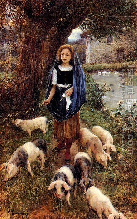 Woman Herding Pigs by Cesare Saccaggi - Reproduction Oil Painting