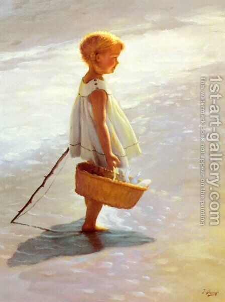 Young Girl On A Beach by I. Davidi - Reproduction Oil Painting